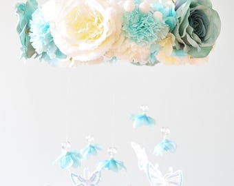 Floral mobile,Floral Chandelier, decoration ,blue, baby mobil,butterfly mobile chandelier,Nursery Mobile,Rose Baby Gift, Wedding chandelier