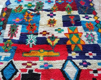 Moroccan Vintage Hand Woven Boucherouite Rug ( 2,25 x 1 m )