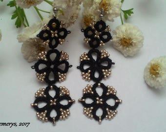 Black tatting earrings, black lace earrings, black earrings, tatting lace earrings, tatted earrings, long earrings