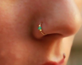 Nose Ring / Extra tiny nose ring / 2mm opal  nose ring / nose ring hoop / 24g nose ring  / thin nose ring /  nose hoop / piercing ring