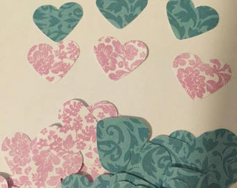 Pink and Blue/Green Hearts Confetti