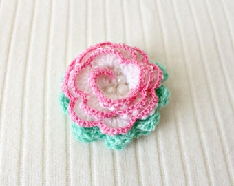 Crochet brooch Women jewelry flower Valentines day gift for her White brooch pin White flower Brooch flower women accessories brooch #SvB
