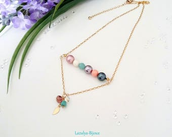 Pearl Necklace Pearl Swarovski crystals and chain Gold filled necklace pendant charm Swarovski - pearls necklace