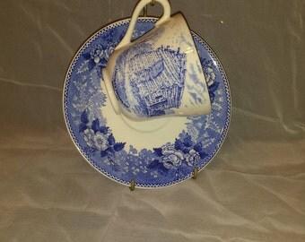 Jonroth England English Staffordshire Ware Lincoln's Birthplace Kentucky Tea Cup & Saucer Set Bridal Shower