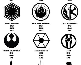 Star Wars Decals, First Order Decal, Rebel Alliance Decal, Jedi Order Decal, Sith Decal, Galactic Empire Decal, Mandalorian Decal