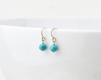 Turquoise Drop Earrings - December Birthstone Earrings - Blue Turquoise Dangle Earrings - December Gift - December Earrings - Blue Earrings