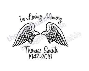 In Loving Memory car decal personalized wings - custom memorial decal for car - personalized memory sticker - angel wings decal