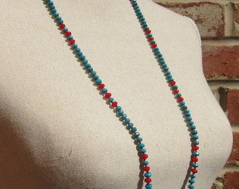 Turquoise and Red Coral Rondelles Necklace - Genuine Turquoise + Coral & Pure Silk Thread