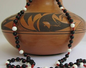 Onyx-Howlite-Coral Wrap Necklace - Genuine Gemstones & Pure Silk Thread