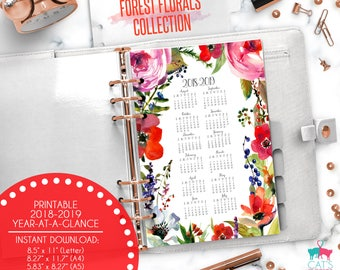 Printable Calendar A5 A4 Letter Watercolor Planners 2018-2019 Year at a Glance | Forest Florals Floral Collection | FFCYG1819