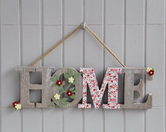 HOME 3D Sign, Wood Letters, Wall Decor, Flowers