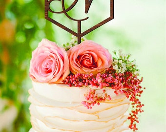 Letter N Cake Topper Geometric wedding cake topper Initial N Personalized Wood Monogram Wedding Cake Toppers Letter K L M N O P Custom Cake