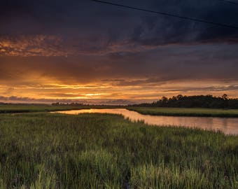 Fine Art Photography Print, Storm and Sunset, Edisto Island, South Carolina