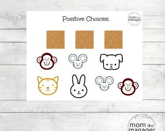 Laminated Positive Choices Animal Chart for chores and daily routines and tasks