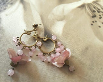 Pink bird flower earring