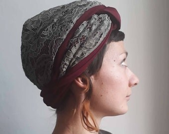 Turban, Turban Headband, Turban Wrap, Lace Turban, Turban Style, Fashion Turban, Woman Hat,Woman Accessories, Handmade in Italy, Fabric Hat
