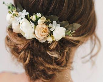 Bridal Hair, Floral Hair Comb, Bridal Hair Comb, Wedding Hair Comb, Bridal Flower headpiece, Bridesmaid headpiece, Wedding headpiece