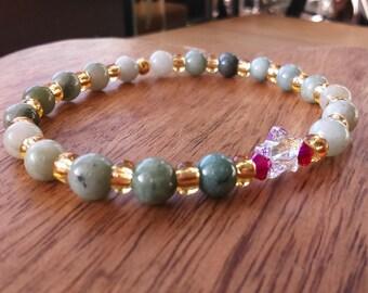 Burmese Jadeite Stretch Bracelet, with Swarovski Crystals, Gold Miyuki Seed Beads & Swarovski Star, Jadeite Jewellery, Star Bracelet