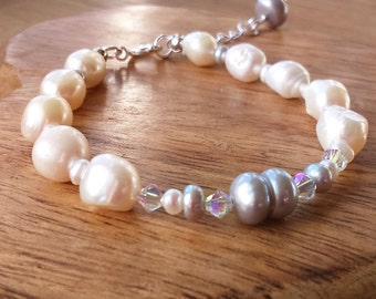 Silver Pearl Bracelet, White Freshwater Cultured Pearls, Clear Swarovski Crystals, Silver-plated Extender Clasp, Pearl Jewellery