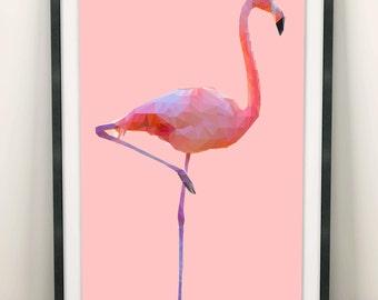 Flamingo Print (Limited Edition of 100) - A3 Flamingo Decor Vintage Retro Flamingo Poster Pink Original Pop Art Flamingo Wall Art Set Gift