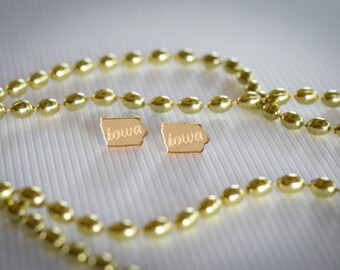 University of Iowa Earrings - GOLD MIRROR ACRYLIC