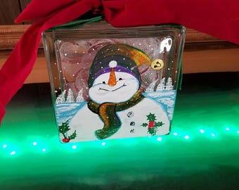 Snow Man Glass block Hand Painted Decorative Glass block with Lights,home decor. Night lamp, christmas, decoration, original handpainting