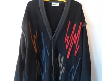 Carlo Colucci, cardigan, sweater, XL, black, multicolour