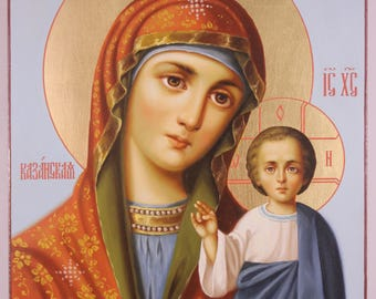 Russian Orthodox icon our Lady Kazanskaya/Handwriting icon/Orthodox icon/Kazan Virgin Mary/Madonna Kazan/Our Lady of Kazan/Mother of God