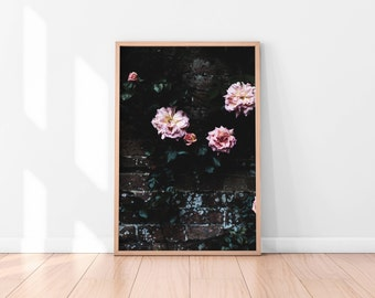 Black Pink Floral Wall Art, Floral Printable, Flowers Poster, Botanical Art Print, Printable Wall Art, Floral Art Print, Best Selling Items
