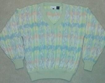 Vintage Bachrach Pastel Textured V-Neck Cosby Sweater Size Medium
