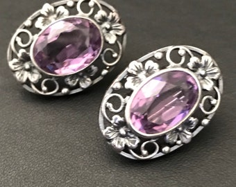 Arts and Crafts Silver and Amethyst Earrings