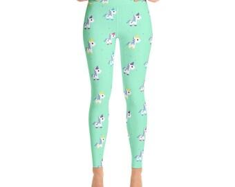 Unicorn Fun Print Leggings - Green - Womens Leggings - Yoga Pants - Yoga Leggings - Ladies Leggings - Adult