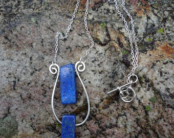 Lapis Lazuli wire wrapped necklace