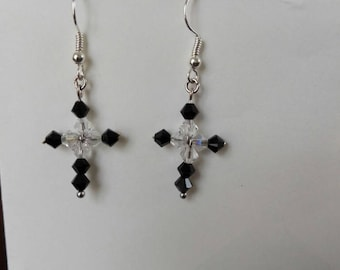 Beaded Cross Earrings