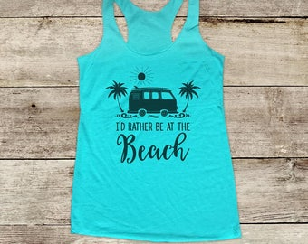 I'd Rather Be At The Beach - ocean sun fun surf - Soft Tri-blend Soft Racerback Tank fitness gym yoga running exercise shirt