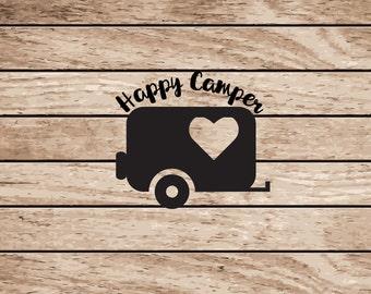 Happy Camper Decal | RV Camper Decal | Car Window Vinyl Decal | Tumbler Decal | Yeti Decal | Cup Decal | Camping Decal |Happy Camper