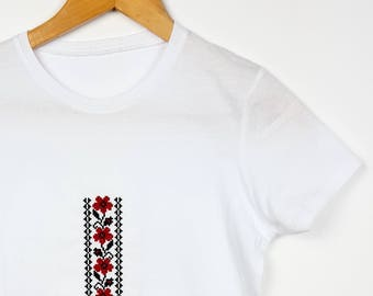 "Embroidered Ethnic T-shirt Traditional Pattern ""Flori de camp"""