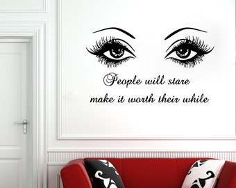 Wall Decal Window Sticker Beauty Salon Woman Face Eyelashes Lashes Eyebrows Brows t4