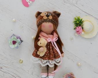 Textile doll. Art doll. Fabric doll. Rag doll. Handmade doll. Tilda. For interior. Soft doll. Baby doll.