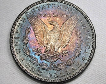 1887 P Morgan Dollar Rainbow Toned CH UNC Coin