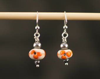 Lampwork Flower Earrings,Mother's Day Gift, handcrafted Jewelry, Lampworking Bead, Flower, Floral Bead, Gift For Her, Birthday Gift