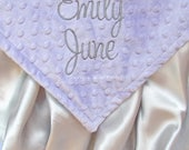 Satin and Minky Baby Blanket  , Embroidered Baby -Toddler Blanket - Baby Boy or Baby Girl Blanket - You Design - 30x36 , Children