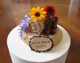 Country, Rustic, Wedding Cake Topper, handmade, hay bale, cowboy boots, sunflowers, cowboy, outdoor, flowers, personalized, farm