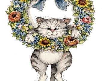 Cat Fabric Panel, Wreath Applique Quilt Block, Crazy Quilting Supply - Cat Applique Fabric Block, Cat Fabric Block