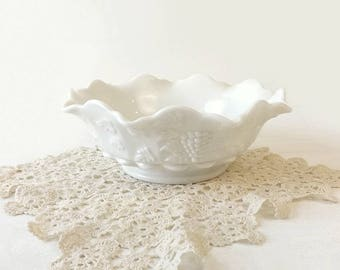 "Westmoreland Milk Glass Bowl, Vintage Paneled Grape 9 3/4"" White Bowl with Ruffle Rim, Cottage Chic Home Decor, Wedding Table Display"