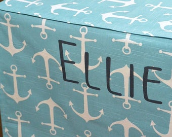Designer Dog Crate Cover, Anchors Coastal Blue Cover, YOU Choose Fabric, Crate Cover, Pet Crate Cover, Personalization & Grommets Extra