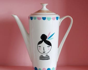 Large girl with feathers in her hair screenprinted vintage teapot