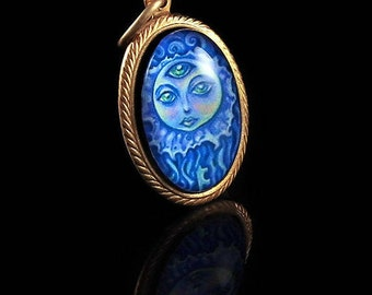 The Moon Jelly -- Brass Pendant with Original Artwork