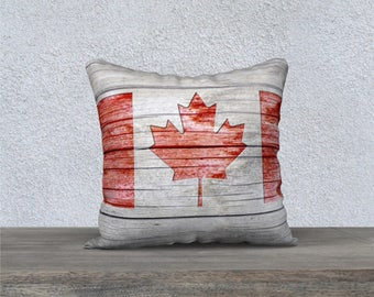 Rustic Cottage Country Style Red and Grey Canada Flag Velveteen Throw Pillow Cover