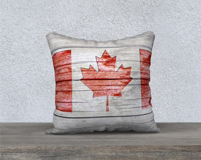 Featured listing image: Rustic Cottage Country Style Red and Grey Canada Flag Velveteen Throw Pillow Cover